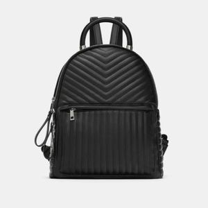 ZARA Black Faux Leather Quilted Chevron Backpack
